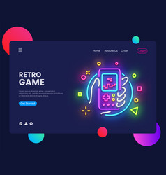 retro games website concept banner design vector image