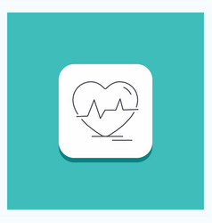 round button for ecg heart heartbeat pulse beat vector image