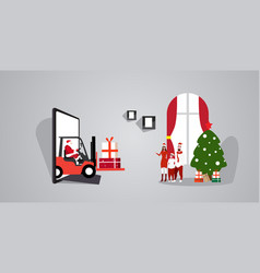 santa claus driving forklift with gift boxes from vector image