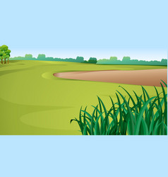 Scene with green grass and sand pit vector