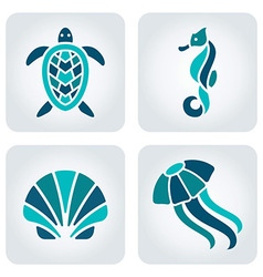 Sea animals mosaic icons vector