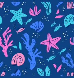 sea flora and fauna flat seamless pattern vector image