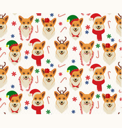 Seamless christmas pattern with corgis vector