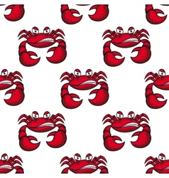 Seamless pattern of angry red crab vector