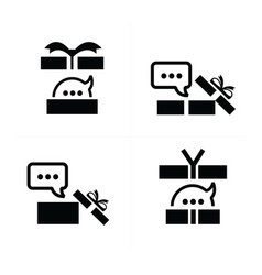set black gift and bubble talk icons 4 styles vector image