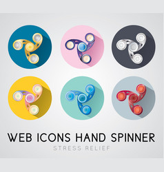 Set of flat design icons hand spinner vector