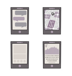 set of four mobile phones vector image