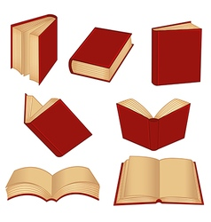 Set of isolated red book vector