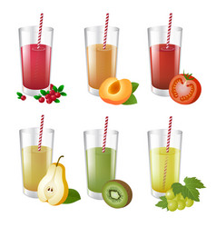 set of realistic glasses with tasty juice and vector image