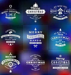 Set of Retro Vintage Typographic Merry Christmas vector image
