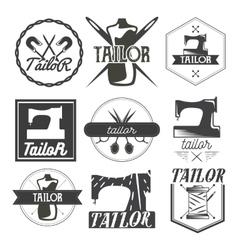 Set vintage sewing logo design elements vector