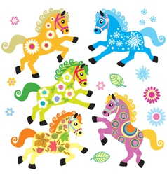 Set with decorative horses vector