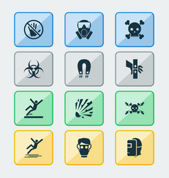 sign icons set with caution icy surface welder vector image