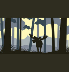 Silhouette scene with moose in forest vector