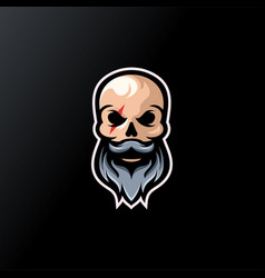 skull beard logo design ready to use vector image