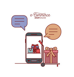 smartphone with wallpaper inside of set gift and vector image