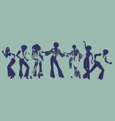 Soul party time dancers of funk or disco vector