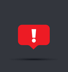 speech bubble red attention sign icon new message vector image