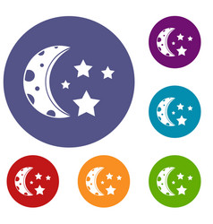 Starry night icons set vector