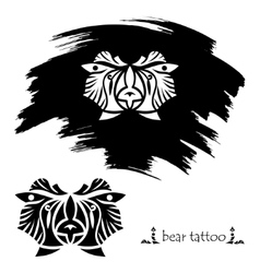 Stylized decorative bear mask Tattoo silhouette vector image