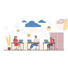 team working in saas connected with main cloud vector image