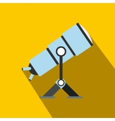 Telescope flat icon with shadow vector image