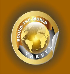 Travel Round the World Symbol with Golden Globe Sy vector image