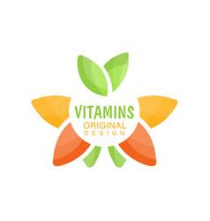 vitamins logo template original design herbal vector image