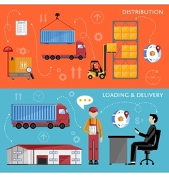 Warehouse management concept flat design vector image