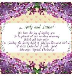 Wedding invitation with lilac flower for your vector image
