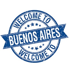 Welcome to Buenos Aires blue round ribbon stamp vector