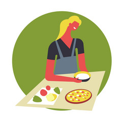Woman in apron cooks food and serves in bowls vector