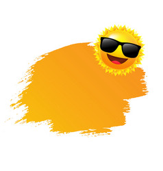Yellow paint with sun and sunglasses vector