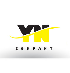 yn y n black and yellow letter logo with swoosh vector image