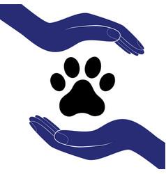 Animal dog paw in people hand human help vector