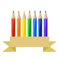Colored pencils and paper banner vector image