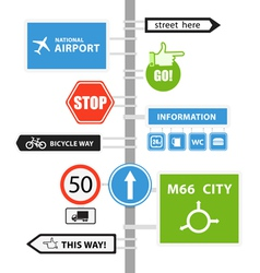 Different road signs on column vector image vector image
