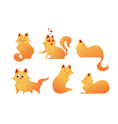 kitty cat - modern set of flat vector image