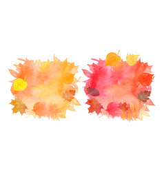 set of watercolor backgrounds of autumn leaves vector image