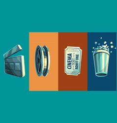 vintage retro icon of cinema vector image vector image