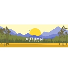 Autumn landscape with yellow meadow forest vector image