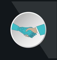 business human and robot hands shake vector image