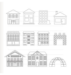 different kinds of houses and buildings vector image