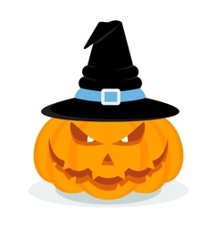 halloween pumpkin with hat vector image vector image