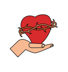 hand with sac heart catholicism vector image