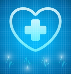 Heart with cross vector image vector image