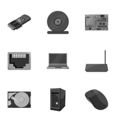 Personal computer set icons in monochrome style vector image vector image