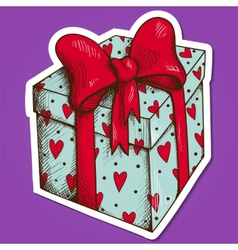 Present box with hearts and bow vector image