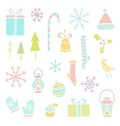 Set of hand drawn Christmas objects vector image vector image