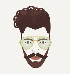 Young dark brown hair hipster male with mustache vector